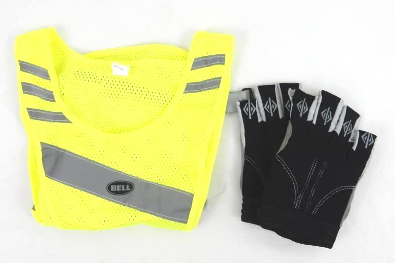 Bell Bicycle Safety Vest and Gel Gloves Reflective Neon Yellow LED One Size Bike