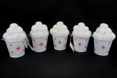 Lot of 5 Holiday Decor White Elephant Gifts White Tin Bucket With Snowballs NWT