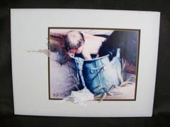 'Looking For The Soap' Painting By Geri Lee Lithograph Boy Dog in Bucket COA