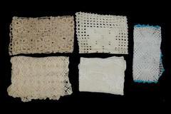 Lot of 5 Vintage Doilies Handmade Crochet Table Runner Dresser Scarf Rectangle