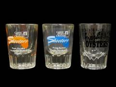 Lot of 3 Oyster Shooter Shot Glasses Goose Point Oregon Oyster Farms Clear Glass