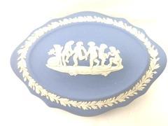 Vintage Wedgwood Jasperware Dancing Cherubs Trinket Box Made in England