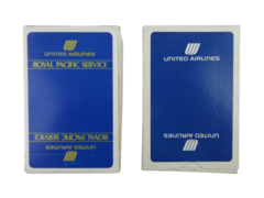 Lot of 2 Vintage United Airlines Playing Cards Blue Deck Royal Pacific Service