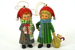 Set of 2 Ceramic Ornaments Boy and Girl with Presents Hong Kong