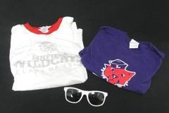 Linfield College Wildcats Lot Sunglasses 2 T-Shirts Class of 2019 Purple