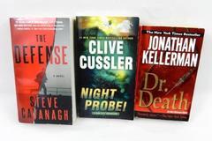 Lot of 3 Paperback Novels Clive Cussler Steve Cavanagh Jonathan Kellerman
