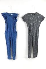 Lot of 2 Gymboree Girls Jumpsuits Size M 7/8 Blue Grey Stars Hears