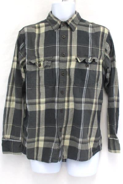 Men's Casual Long Sleeve Gray Henley Sonoma Plaid Button Up Shirts Medium