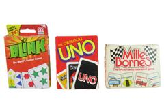 Lot of 3 Family Games Uno Blink & Mille Bornes: The French Auto Race Card Game
