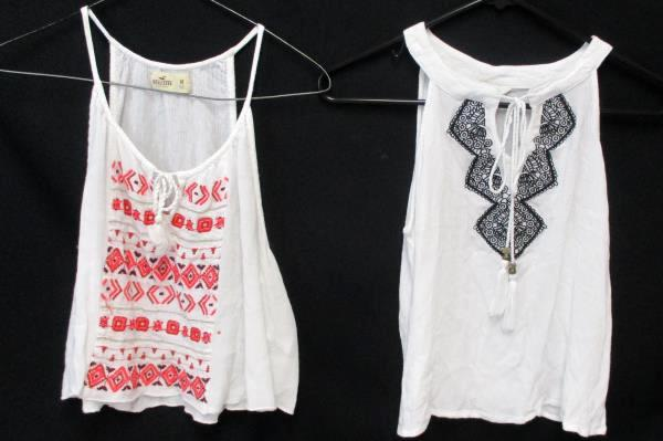 2 Sheer White w/ Tribal Tank Tops Hollister w/ Pink Sun & Shadow w/ Black Size M