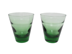 Lot of 2 Vintage Libbey Juice Glasses Green Small