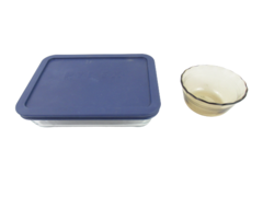 Lot of 2 Pyrex Dishes Custard Bowl 7210 Dish With Lid Blue Smokey Glass