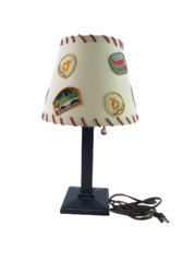 Vintage Art Deco Wood Table Lamp With Scout Patch Shade Fishing Bobber Pullchain
