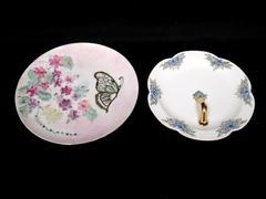 Lot of 2 Vintage Plates Hand Painted Porcelain Signed Hazel