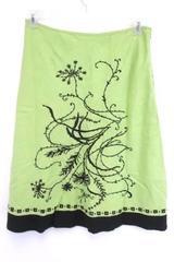 Richard Malcolm Women's Below the Knee Length Green Embroiderd Lined Skirt 8