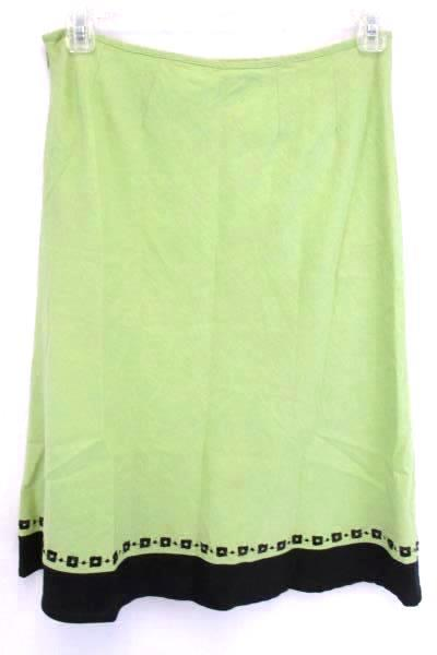 Richard Malcolm Women's Below the Knee Length Green Embroiderd Lined Skirt 8