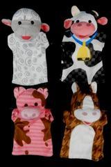 Set of 4 Melissa And Doug Farm Friends Hand Puppets Toys Pretend Plush