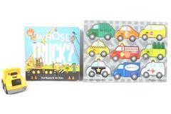 Lot Melissa and Doug Wood Puzzle Whose Truck Board Book Mega Block Cat Truck