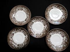 """Lot of 5 Vintage Royal Straffordshire Ironstone Saucers Plates Brown White 6"""""""
