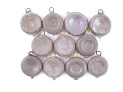 Lot of Eleven 2 Ounce Lead Disc Fishing Sinkers Weights
