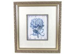 "Barbara Mock Famed Matted Blue II Hydrangea Print 21.5"" x 19.25"""