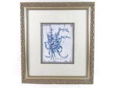 "Barbara Mock Famed Matted Blue II Bouquet Print 21.5"" x 19.25"""