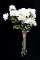 Lot of 2 Bouquets Artificial Roses and Carnations White Green Stems