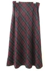 Eddie Bauer Skirt Burgundy Black Green Plaid Lined Long Full Women's Size 16