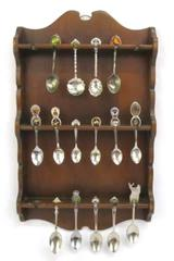 Lot of 15 Souvenir Collector Multiple States ~Wall Hanging Shelf Included