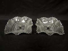 Lot of 2 Vintage Indiana Glass Diamond Point Nut Candy Dishes 6.75 Inch