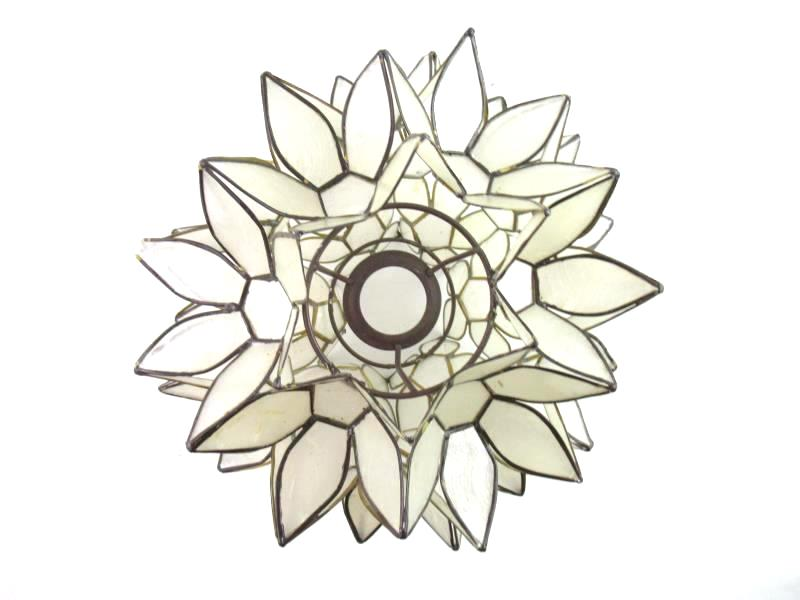 3D Floral Shaped Lamp Shade Frosted White Brown Trim Shade Only