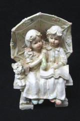 Vintage Ceramic Pottery ~Boy and Girl Reading Bench Umbrella Scottie Dog Large