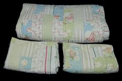 Westone Bedspread With 2 Pillowcase Sham Floral Quilt Comforter White 90in