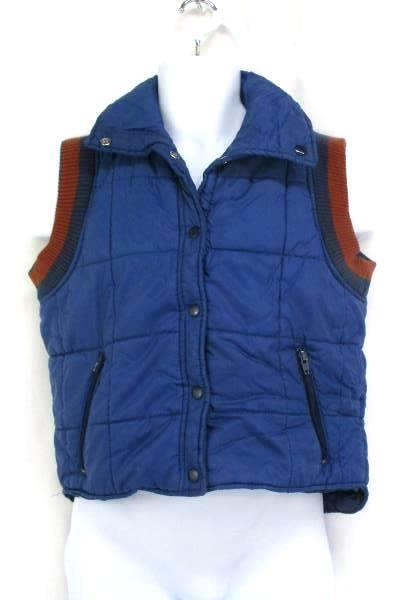 Sears Vintage Men's Medium Blue Puffer Vest Snap Button Quilted Cloth Shoulders