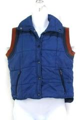 Sears Vintage Men's Medium Blue Puffer Vest Snap Button Quilted Cloth Shoulders