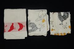 Lot of 3 Chicken Theme Hand Towel Dish Towels Farm House Décor Rooster Ducks