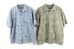 Lot of 2 St. John's Bay Men's Tropical Button Up Shirts SZ XL Short Sleeve Blue
