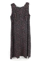 Vintage Molly Malloy Sleeveless Floral Dress Women's Size 12 90s Y2K Black Pink