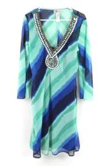 Roulette Chiffon Overlay Long Bell Arm Dress Women's Size 8 Beaded Boho Chic