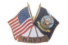 US Navy Lapel Hat Pin USA Flag and Navy Flag Crossing Tie Tac Sealed