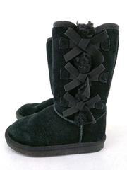KOOLABURRA by Ugg Victoria Tall Boot Black Suede Sheepskin with Bows Girls Sz 13