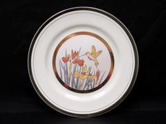 Chokin Hummingbird And Iris Collector Plate 10.5 Inch Round Gold Tone Copper