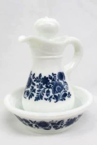 Vintage Avon Basin & Pitcher Set Milk Glass Miniature Wash Blue Flowers 5oz.