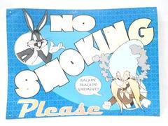 Vintage Looney Toones Metal Tin Sign Bugs Bunny Yosemite Sam No Smoking Please