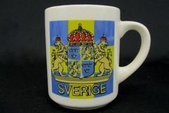 Vintage SVERIGE Sweden Coffee Mug Blue Yellow Crest Bergquist Imports