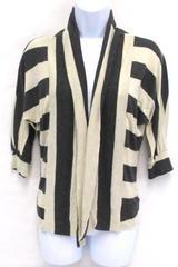 Tea n Rose Open Cardigan Heather Gray Beige Striped Sweater Women's Size Large