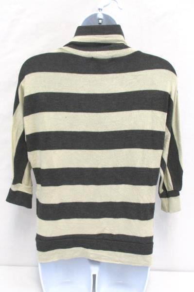 Tea n Rose Open Cardigan Heather Gray Beige Striped Sweater Women's Size Large