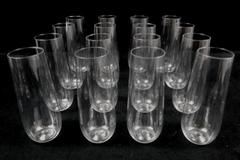 Lot of 16 Stemless Plastic Flute Champagne Cups Clear 9 oz