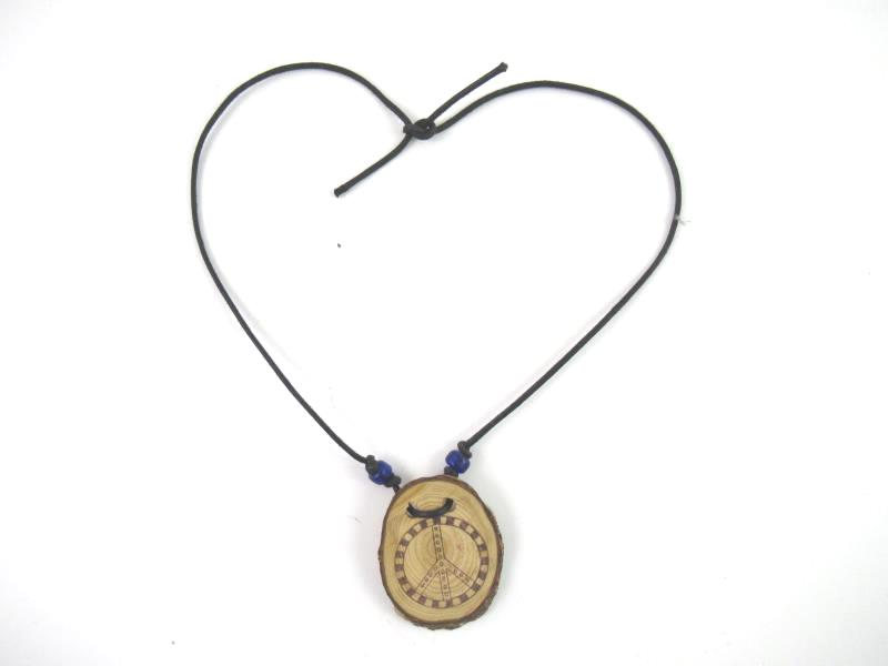 Wood and Cord Peace Symbol Necklace And Bracelet