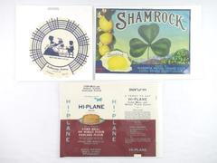 Lot of 3 Vintage Labels Buttercrisp Bakery Hi Plane Flour Shamrock Produce